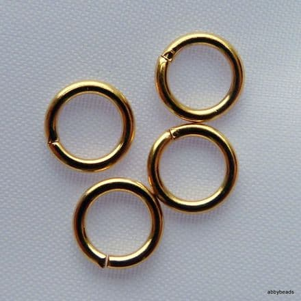 100 Gold plated round jump rings 5mm hard top quality